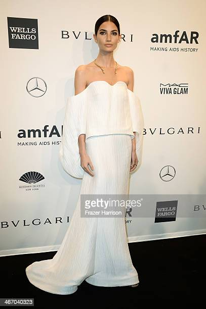 Model Lily Aldridge attends the 2014 amfAR New York Gala at Cipriani Wall Street on February 5 2014 in New York City