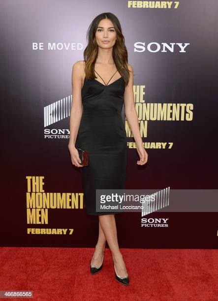 Model Lily Aldridge attends The Monuments Men premiere at Ziegfeld Theater on February 4 2014 in New York City New York