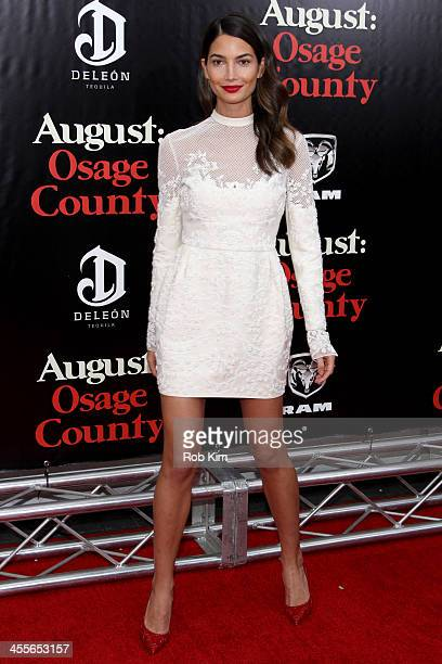 Model Lily Aldridge attends the premiere of AUGUST:OSAGE COUNTY presented by The Weinstein Company with DeLeon Tequila on December 12, 2013 in New...