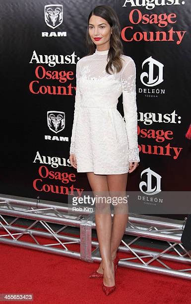 Model Lily Aldridge attends the premiere of AUGUSTOSAGE COUNTY presented by The Weinstein Company with DeLeon Tequila on December 12 2013 in New York...