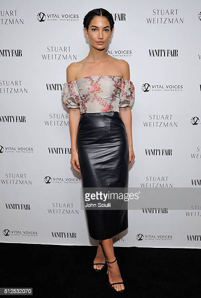 Model Lily Aldridge attends the Vanity Fair and Stuart Weitzman Luncheon to celebrate Elizabeth Banks at AOC on February 26 2016 in Los Angeles...