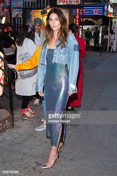 Model Lily Aldridge attends the Voguecom Met Gala cocktail party at Search Destroy on April 30 2016 in New York City
