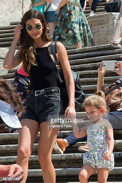 Model Lily Aldridge is seen in Rome with her daughter Dixie Pearl Followill on the Spanish Steps on July 25 2015 in Rome Italy