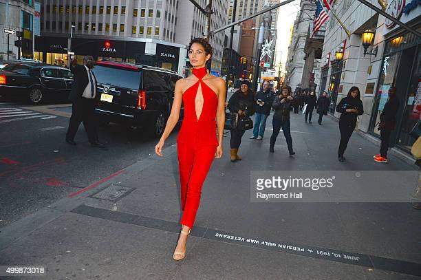 Model Lily Aldridge is seen walking in Tribeca on December 3 2015 in New York City