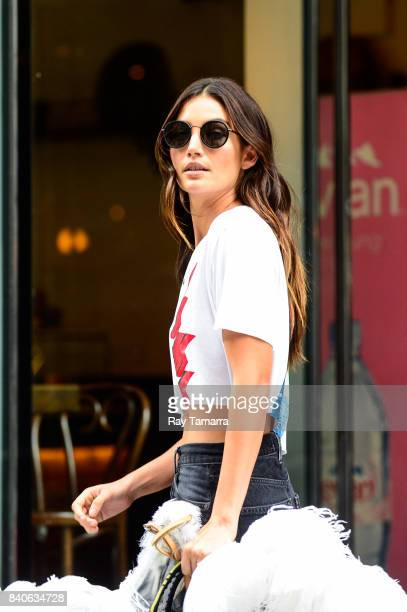 Model Lily Aldridge leaves an office building in Midtown Manhattan on August 29 2017 in New York City