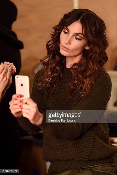 Model Lily Aldridge prepares backstage at Diane Von Furstenberg Fall 2016 during New York Fashion Week on February 14 2016 in New York City