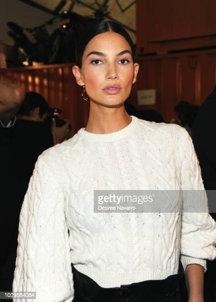 Model Lily Aldridge prepares backstage for the Brandon Maxwell fashion show during New York Fashion Week at Classic Car Club on September 8 2018 in...