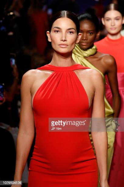 Model Lily Aldridge walks the runway at Brandon Maxwell during New York Fashion Week at Classic Car Club on September 8 2018 in New York City
