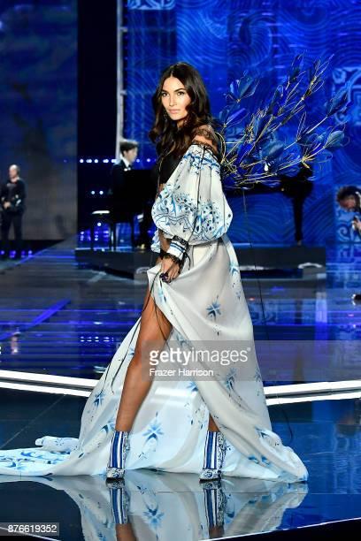 Model Lily Aldridge walks the runway during the 2017 Victoria's Secret Fashion Show In Shanghai at MercedesBenz Arena on November 20 2017 in Shanghai...