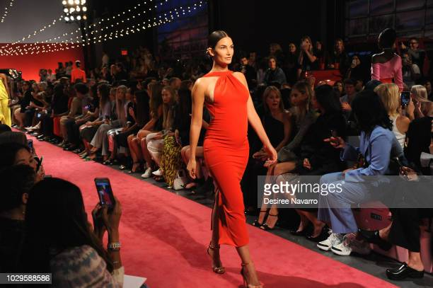 Model Lily Aldridge walks the runway for the Brandon Maxwell fashion show during New York Fashion Week at Classic Car Club on September 8 2018 in New...