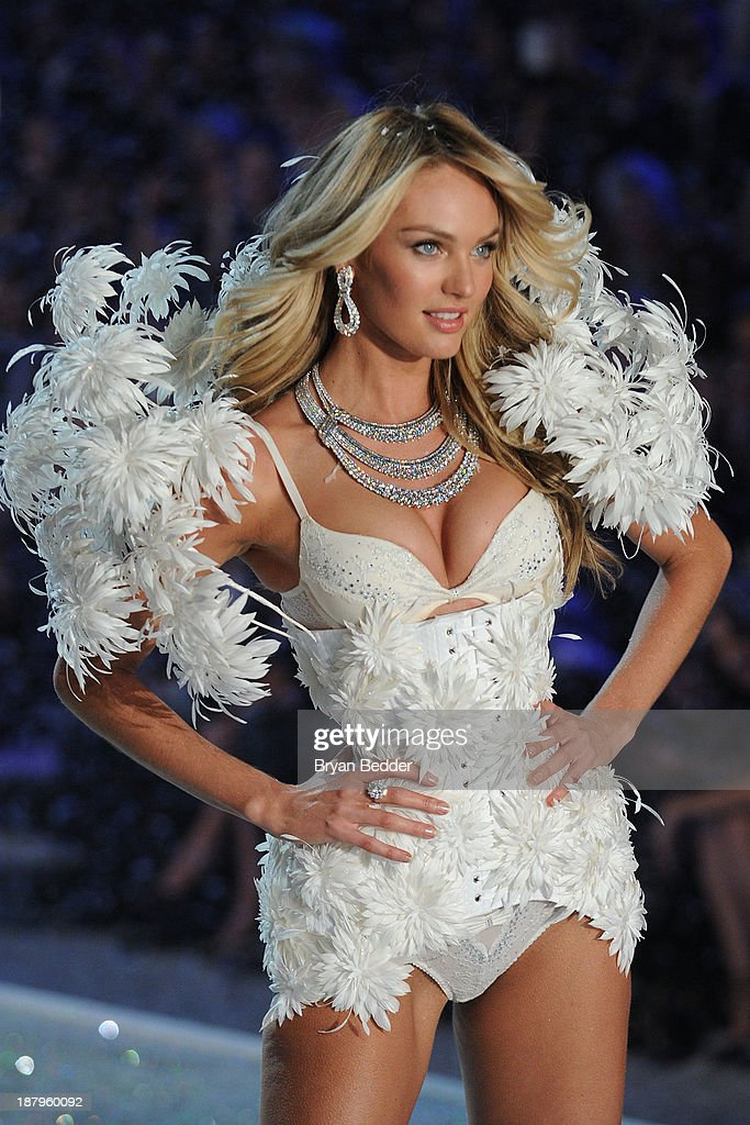 Model Lily Aldridge walks the runway wearing corset using Swarovski Crystals at the 2013 Victoria's Secret Fashion Show at Lexington Avenue Armory on November 13, 2013 in New York City.