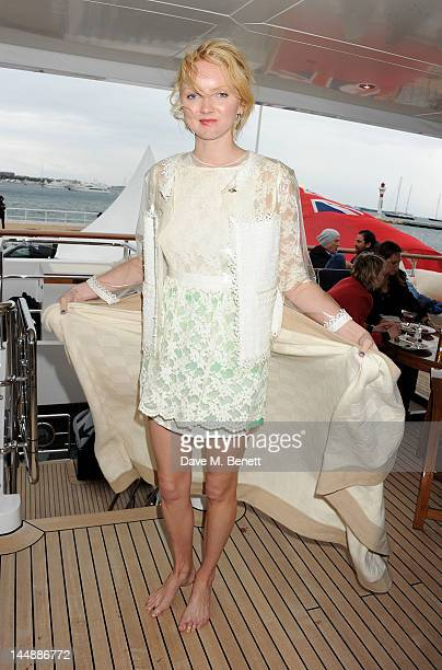 Model Lily Cole attends a lunch hosted by Len Blavatnik, Harvey Weinstein and Warner Music during the 65th Cannes Film Festival on board the Odessa...