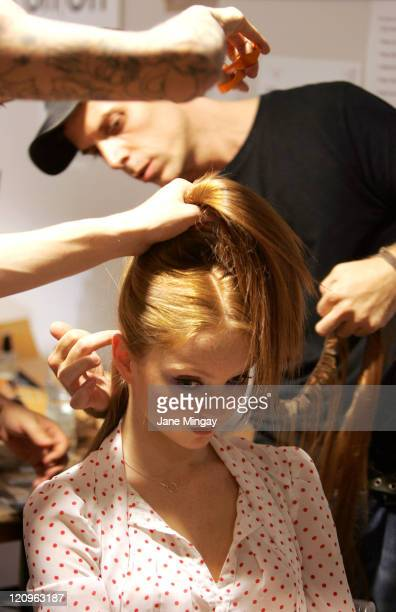 Model Lily Cole backstage at the Allegra Hicks London Fashion Week show in central London