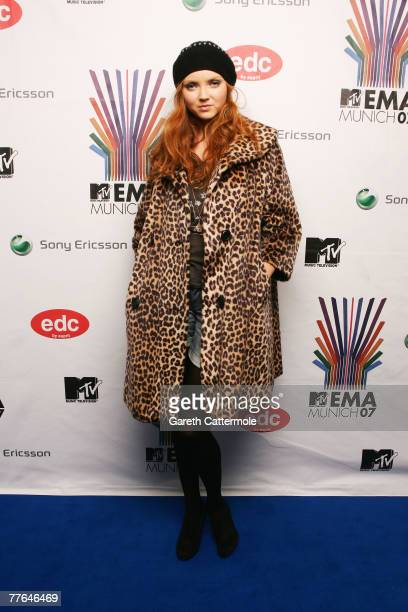 Model Lily Cole poses in the Awards Room during the MTV Europe Music Awards 2007 at the Olympiahalle on November 1 2007 in Munich Germany