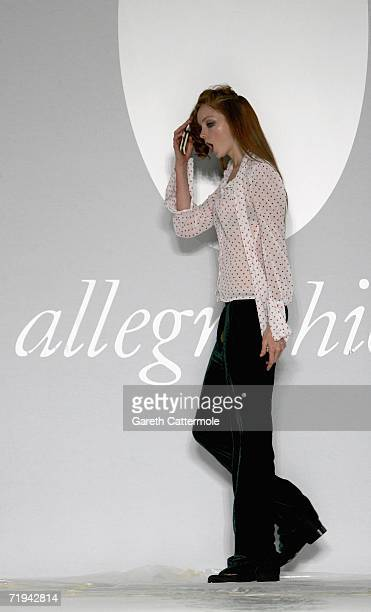 Model Lily Cole walks down the catwalk during rehursals for the Allegra Hicks Fashion show at The Royal Horticultral Halls SW1 as part of London...
