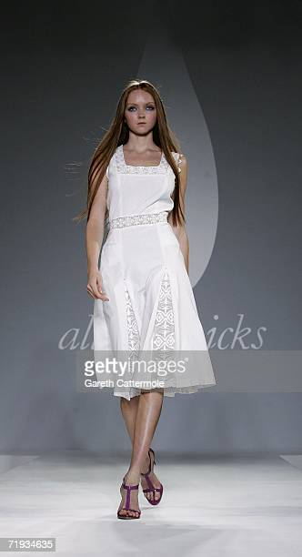 Model Lily Cole walks down the catwalk during the Allegra Hicks Fashion show as part of London Fashion Week Spring/Summer 2007 at The Royal...