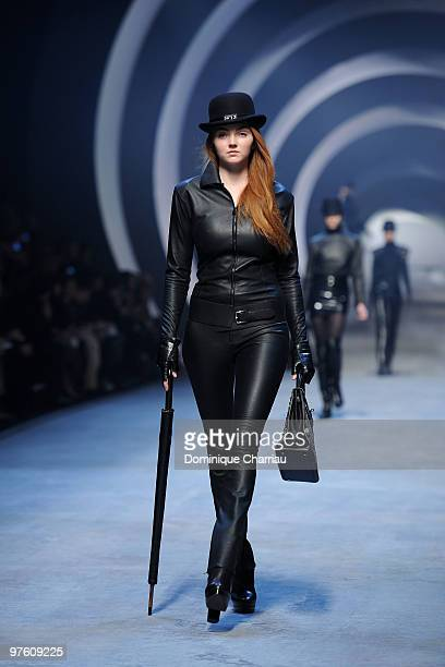 Model Lily Cole walks the runway during the Hermes Ready to Wear show as part of the Paris Womenswear Fashion Week Fall/Winter 2011 at Halle...