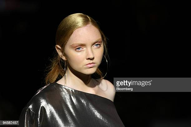 Model Lily Cole wears a blouse as she walks down the catwalk during the Jasper Conran fashion show in London UK on Monday Sept 17 2007 British...