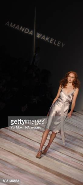 Model Lily Cole wears a creation by designer Amanda Wakeley during her Spring/Summer 2006 show at the BFC Tent Natural History Museum