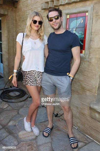 Model Lily Donaldson and author Derek Blasberg attend the Superdry Coachella brunch hosted by Poppy Delevingne on April 12 2014 in Palm Springs...