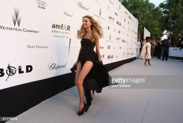 Model Lily Donaldson arrives at amfAR's Cinema Against AIDS 2008 benefit held at Le Moulin de Mougins during the 61st International Cannes Film...