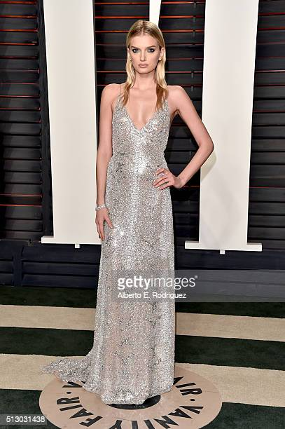 Model Lily Donaldson attends the 2016 Vanity Fair Oscar Party hosted By Graydon Carter at Wallis Annenberg Center for the Performing Arts on February...