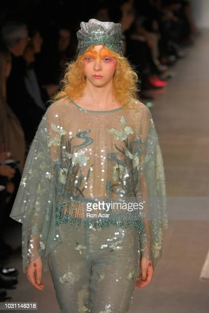 Model Lily Nova walks the runway for Anna Sui during New York Fashion Week The Shows at Gallery I at Spring Studios on September 10 2018 in New York...