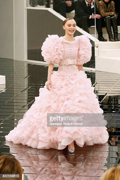 Model LilyRose Depp walks the runway during the Chanel Spring Summer 2017 show as part of Paris Fashion Week on January 24 2017 in Paris France
