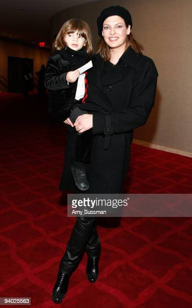 Model Linda Evangelista and her son Augie attend the New York City Ballet the School of American Ballet's The Nutcracker family benefit at the David...