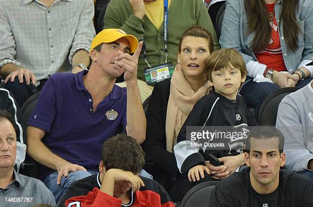 Model Linda Evangelista and son Augustin James Evangelista attend the Los Angeles Kings vs the New Jersey Devils game five during the 2012 Stanley...