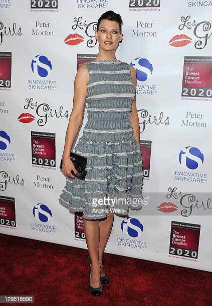 Model Linda Evangelista arrives at the LES GIRLS 11th annual celebrity cabaret to benefit the National Breast Cancer Coalition Fund at Avalon on...