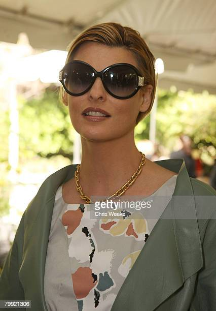 BEVERLY HILLS CA FEBRUARY 21 Model Linda Evangelista attends a luncheon hosted by legendary producer Robert Evans at a private residence on February...