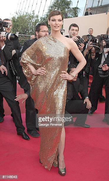 Model Linda Evangelista attends the 'Indiana Jones and the Kingdom of the Crystal Skull' premiere at the Palais des Festivals during the 61st Cannes...
