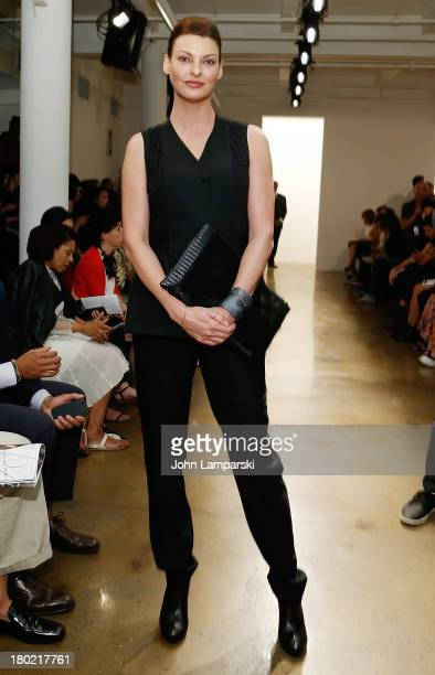 Model Linda Evangelista attends the Timo Weiland Women's show during Spring 2014 MADE Fashion Week at Milk Studios on September 10 2013 in New York...