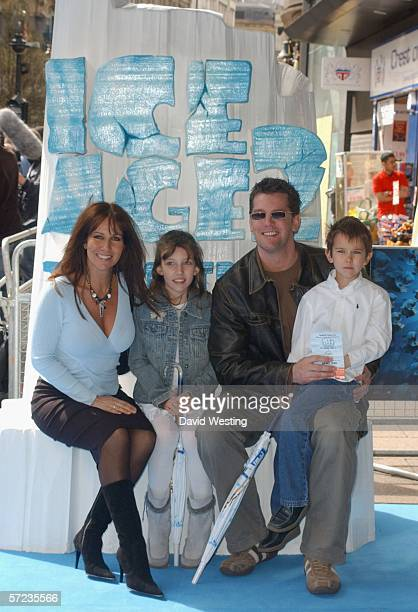 Model Linda Lusardi daughter Lucy husband actor Sam Kane and son Jack arrive at the UK Premiere of 'Ice Age 2 The Meltdown' at the Empire Leicester...