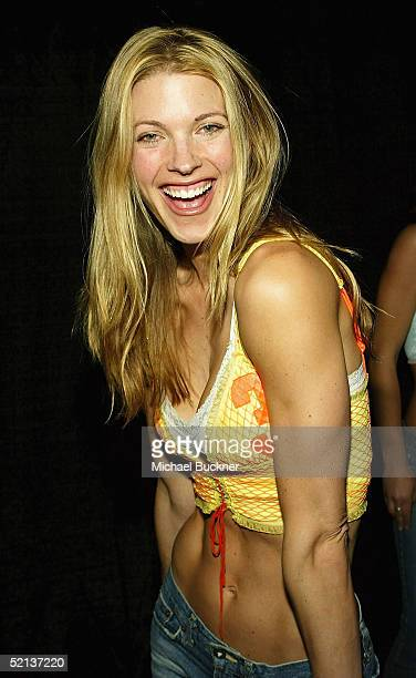 Model Linda Overheu arrives to Anna Benson's Birthday Party and Lingerie Football League Party at Shelter on February 4 2005 in Los Angeles California