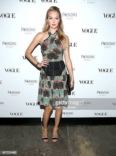 Model Lindsay Ellingson attends Peroni Nastro Azzurro celebrates The Visionary World of Vogue Italia opening night at Industria Studios on October 14...