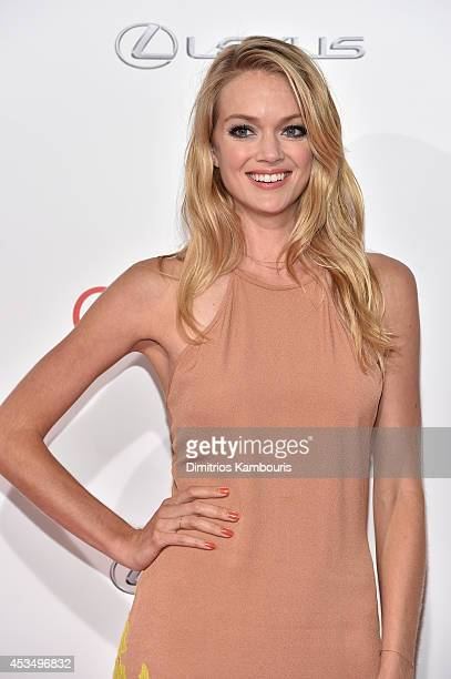 Model Lindsay Ellingson attends The Giver premiere at Ziegfeld Theater on August 11 2014 in New York City