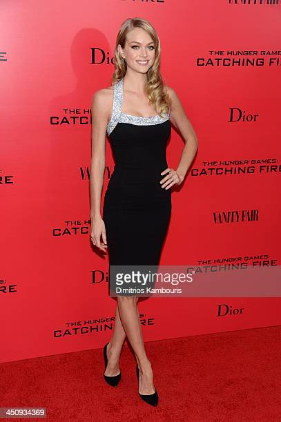 Model Lindsay Ellingson attends the 'Hunger Games Catching Fire' New York Premiere at AMC Lincoln Square Theater on November 20 2013 in New York City