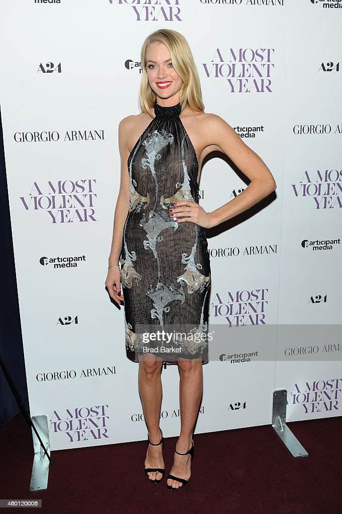 Model Lindsay Ellingson attends the New York premiere of 'A Most Violent Year' at Florence Gould Hall on December 7, 2014 in New York City.
