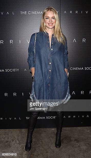 Model Lindsay Ellingson attends the screening of Paramount Pictures' Arrival hosted by Spike Jonze and The Cinema Society at The Metrograph on...