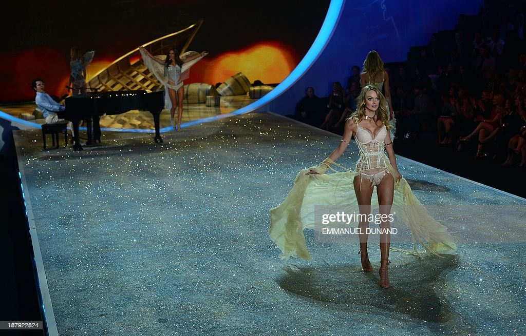 US model Lindsay Ellingson performs during the 2013 Victoria's Secret Fashion Show at the Lexington Avenue Armory on November 13, 2013 in New York. AFP PHOTO/Emmanuel Dunand