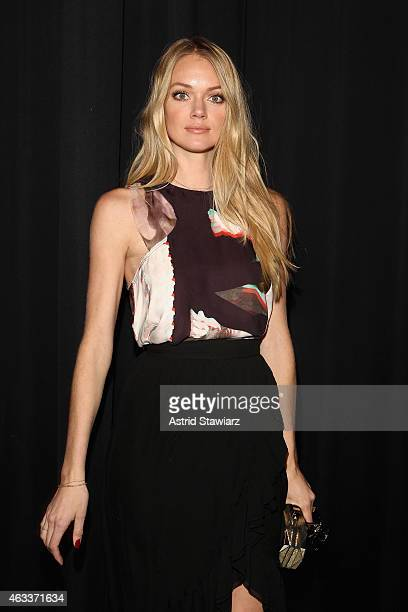 Model Lindsay Ellingson poses backstage at the Rebecca Minkoff fashion show with TRESemme during MercedesBenz Fashion Week Fall 2015 at The Pavilion...