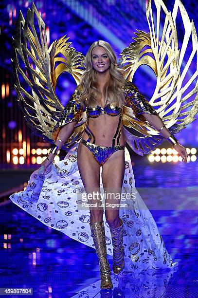 Model Lindsay Ellingson walks the runway at the annual Victoria's Secret fashion show at Earls Court on December 2 2014 in London England