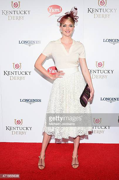 Model Lindsay Ellingston attends the 141st Kentucky Derby at Churchill Downs on May 2 2015 in Louisville Kentucky
