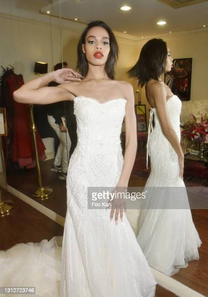 """Model Lindsay wears a dress by Anne Kervall during Anne Kervall Ready to wear """"De Luxe"""" Spring/Summer 2021/2022 Fashion Show Hosted by Anne Kervall..."""