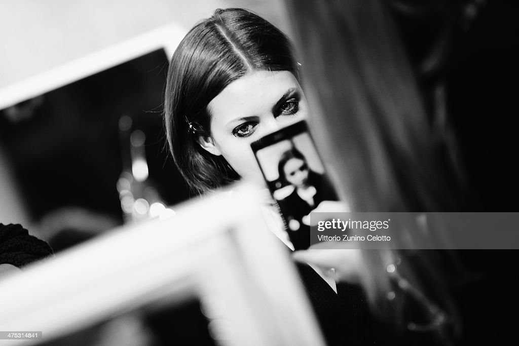 Model Lindsay Wixson is seen backstage prior the IRFE by Olga Sorokina show as part of the Paris Fashion Week Womenswear Fall/Winter 2014-2015 at Espace Vendome on February 27, 2014 in Paris, France.
