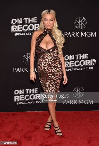 Model Lindsey Pelas arrives at the grand opening celebration at On The Record Speakeasy and Club at Park MGM on January 19 2019 in Las Vegas Nevada