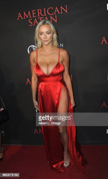 Model Lindsey Pelas arrives for the Premiere Of Miramax's American Satan held at AMC Universal City Walk on October 12 2017 in Universal City...