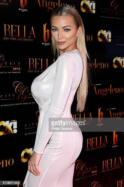 Model Lindsey Pelas attends the City Gala Fundraiser 2016 at The Playboy Mansion on February 15 2016 in Los Angeles California